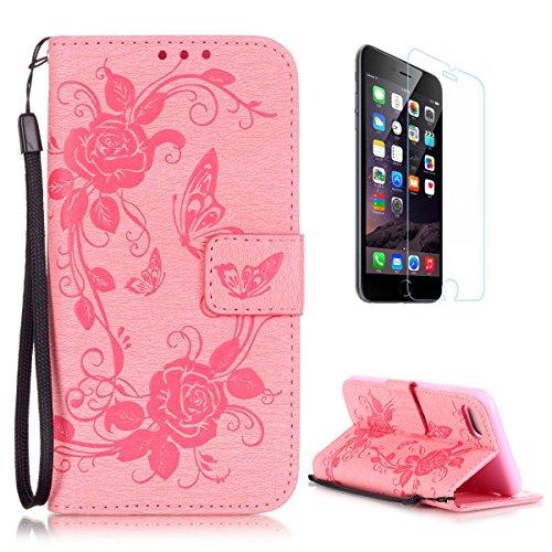 Roses Pochette (CaseHome Compatible for iPhone 7 Plus 5.5 Pouce Coque en Cuir Motif Livre Stylé Folio Flip Portefeuille Pochette Désign Protecteur Prime PU Cuir Etuis Housse for Apple iPhone 7 Plus-Rose #2)