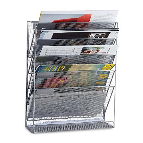 Relaxdays Porte-revues mural porte-journaux porte-magazines 6 casiers HxlxP: 40 x 32 x 10 cm , argent
