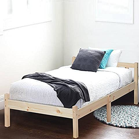 GreenForest Single Bed Solid Wooden Frame with Slat Pine Color