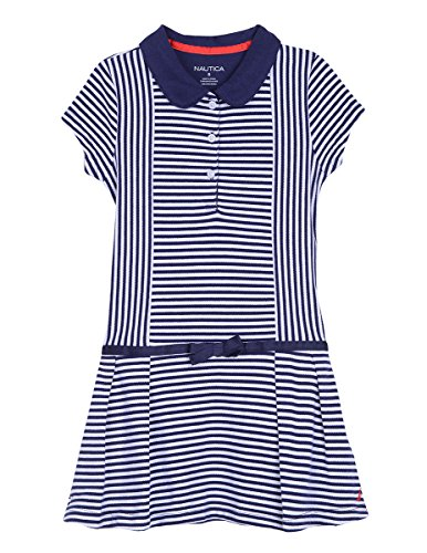 Nautica Little Girls' Short Sleeve Polo Dress, Stripe Medium Navy, 5 (Polo Stripe Girls)