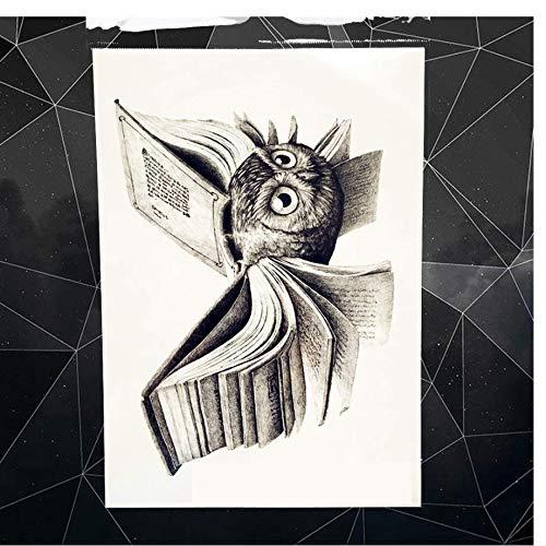 ruofengpuzi Magische Eule Harry Potter Buch Temporäre Tätowierung Aufkleber Weibliches Kind Body Art Arm Flash Schwarz Tattoo Aufkleber Männer