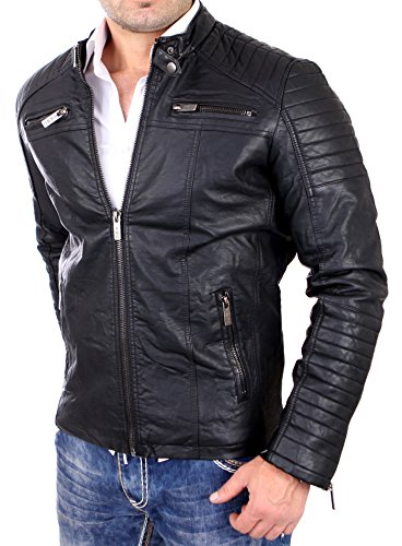 Redbridge Herren Jacke Übergangsjacke Biker Lederjacke Echtleder Kunstleder Baumwolle mit gesteppten Bereichen Schwarz