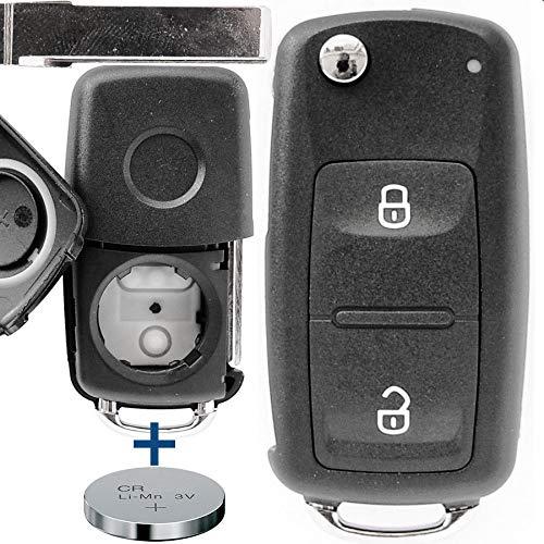 Auto Schlüssel Funk Fernbedienung 1x Gehäuse 2 Tasten + 1x Rohling + 1x CR2032 Batterie für VW Amarok T5 T6 Control-taste 2