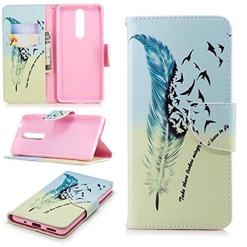 BONROY® Nokia 5.1 2018 Coque PU Cuir Flip Housse Étui Cover Case Wallet Portefeuille Fonction Support avec Porte-Cartes Dragonne pour Nokia 5.1 2018 - (Printemps)