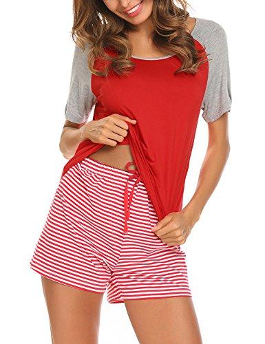 Unibelle Damen Zweiteiliger Schlafanzug Kurzarm Streifen Pyjama Set Nachtwäsche Freizeitanzug Hausanzug mit Knopfleiste Rot L (Schlafanzug Kurzarm)