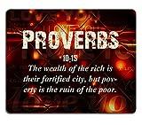 Bibel Verse Zitat Sprichwort 10_ 15Die Reichtum der Reichhaltige ist Ihre Fortified City aber Armut ist die Ruine der Armen MSD Made, um Bestellung Reinigungstuch mit Neopren Gummi Maus Pads