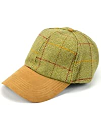 Tweed baseball cap pale green with soft suede effect peak adjustable size