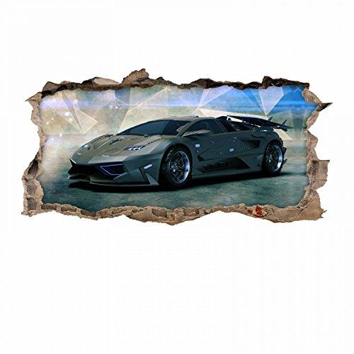 nikima - 106 Wandtattoo Sportwagen schwarz - Loch in der Wand - in 6 Größen - wunderschöne Kinderzimmer Sticker und Aufkleber Coole Wanddeko Wandbild Junge Mädchen Größe 1250 x 630 mm (Kinder-wand-sticker-cars)