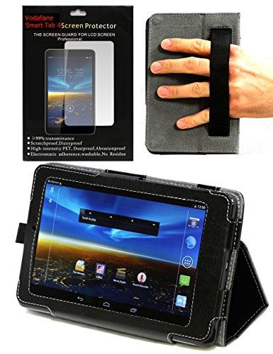 Navitech Schwarzes Bicast Leder Stand Case / Cover mit Halteschlaufe und Anti-blend Bildschirm / Display Schutz für das Vodafone Smart Tab 4 8