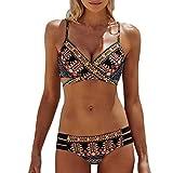 SANFASHION Frauen Böhmen Zweiteilige Push-Up gepolsterte BH Beach Bikini Set Badeanzug Bademode (S, Schwarz)