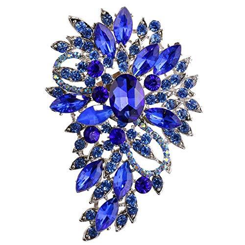 Aofocy Elegante blaue Blume Brosche Mode Kristall Schmuck für Parteien