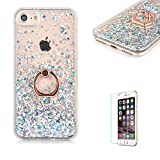 For iPhone 7 Glitter Bling soft TPU+PC Case .Funyye New Creative Floating Water Liquid Small Love Hearts Design Luxury Sparkly Bling Glitter Back Hard Shell Protective Case Cover With Ring Holder Protective Case for iPhone 7 4.7'-Silver