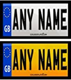Coolrideplates® 90 X 50mm Personalised Rear Number Plate Self-Adhesive Stickers (x2) designed for Little Tikes Cozy Coupe *SIMPLY ADD A GIFT MESSAGE WITH THE NAME, AND COLOUR COMBO* REQUIRED WHEN ORDERING*