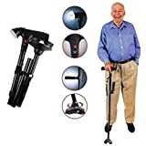 #10: Diswa Old People Easy 2 Handled Folding Adjustable Walking Stick For Man and Woman With Led Light (Black)