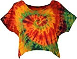 Guru-Shop Batik Hippie T-Shirt, Damen, Orange/bunt, Synthetisch, Size:40, Tops & T-Shirts Alternative Bekleidung