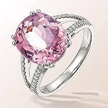 f6f9845baa35 Anillo de Compromiso de Moda con Incrustaciones de Joyas de Turmalina  Diamante Rosa en Forma de
