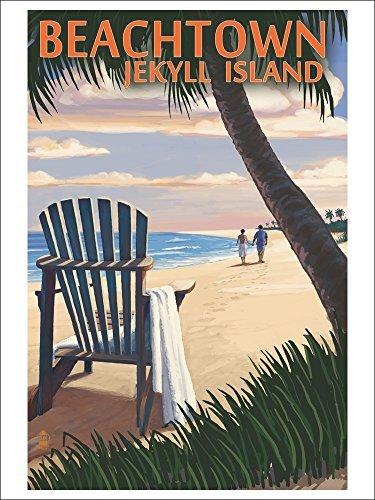Beachtown Jekyll Island, Georgia Adirondack Chair On The Beach (Playing Card Deck 52 Card Poker Size With Jokers)
