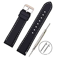 Vinband Silicone Watch Band Replacement with Quick Release Pins and Brushed Stainless Steel Buckle - 4 Strap Sizes (18, 20, 22, 24mm) - Rubber Watchband Watch Straps (24mm, Black-White Stitches)