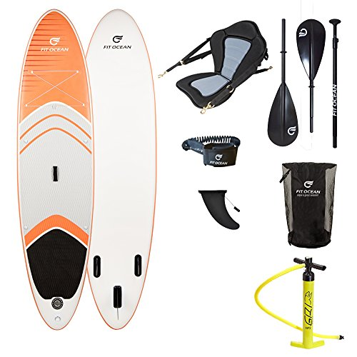 FIT OCEAN MAGIC GLIDE 10'8 ORANGE. Aufblasbares 15 cm dickes Stand Up Paddelboard. Inkl. Doppelhub-Pumpe + guter Rucksack. iSUP 330x81x15cm sehr steif (Board+Kanu Sitz+Dual Paddel+Doppel Action Pumpe+Rucksack) (Board Gutes)