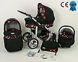 Kombikinderwagen Schwarz und Rot 3in 1mit Kinderwagen + Babyschale + Autositz + Wickeltasche + Gratis Sonnenschirm