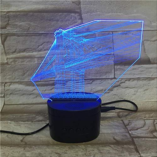 Optische Täuschungslampe 3D Nachtlicht, Bunte Steigungs-Brücke Führte Licht, Bluetooth-Sprecher-Unterseitendekoration -