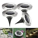 4Stück 8 LEDs Solarleuchte Garten, HIFINY Solarlampen  Outdoor Cool Tischleuchte,Wasserdicht IP67 Landschaftslichter Gartenleuchten für Rasen Auffahrt Innenhof Gehweg Landschaft Garten(Kaltweiß)