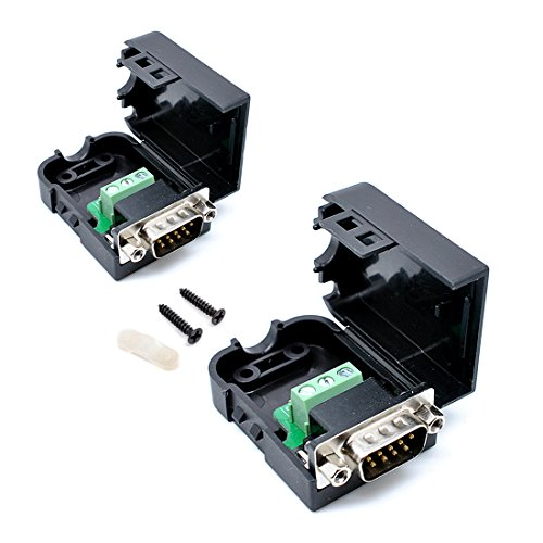 willwin 2Pcs db9-g39Pins Stecker Adapter mit Mutter Anschluss RS232Seriell zu RXD TXD GND 235Terminal Male-Nut -
