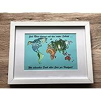 Geldgeschenk beschriftete Weltkarte im Bilderrahmen, Hochzeitsgeschenk, Geburtstag