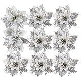 Tomaibaby 24 Stuks Kerst Kerstster Decoraties Glitter Kunstmatige Kerst Bloemen Voor Kerstboomversieringen (Zilver)