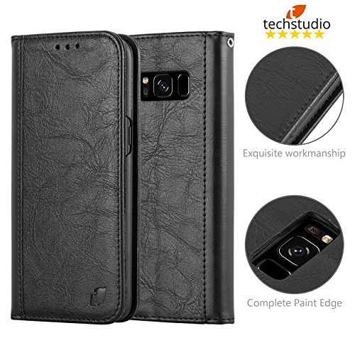Techstudio™ Real Genuine Leather Stand Wallet Flip Case Cover Pouch Book (Specially Manufactured – Executive Quality) for Samsung Galaxy S8