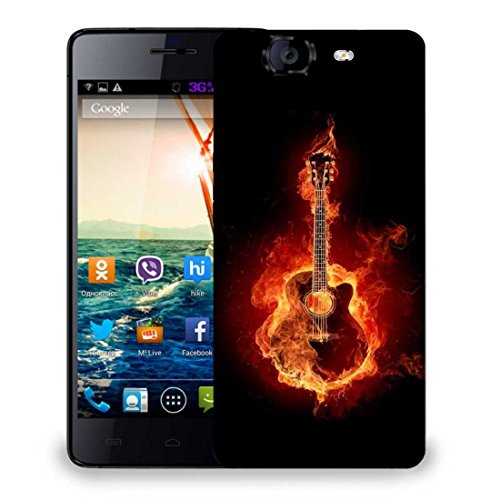Snoogg Guitar On Fire Designer Protective Phone Back Case Cover For Micromax Canvas Knight A350