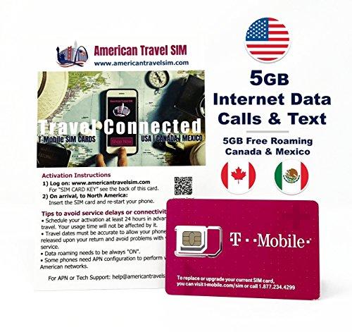 Tarjeta SIM Prepago para USA, Canada y Mexico – 4 GB de INTERNET a Velocidad 4G / LTE, Llamadas y Textos ilimitados Internacionales - 15 Días de servicio