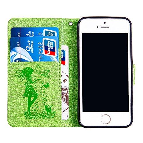JIALUN-étui pour téléphone Pour Apple IPhone 5s SE Case, Pure Color Pressure Flowers, Girls With Card Slot, Magnetic Buckle Open The Phone Shell ( Color : Green ) Green