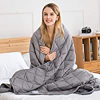 jaymag Weighted Blanket for Adult/Teenager - Weighted Therapy Anxiety Blankets - Sensory Calming Blanket for Autism, Insomnia, Stress Relief, Restless Leg Syndrome, 6.8kg 122x183cm, Grey