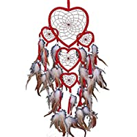 Ailiebhaus Dream Catcher Large Handmade Wall Hanging Room Decoration, Red