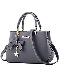 Owill Women Ladies Leather Handbag Inner Pockets Shoulder Bag Messenger Satchel Bowknot Pendant Handbag (Gray)