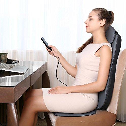Naipo Rücken-Massagegerät Massagesitzauflagen mit Shiatsu Wärme Tiefenmassage Rollmassage Vibration für oberen unteren komplett Rücken -