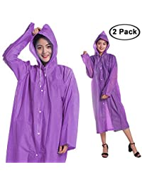 Kurtzy Adult Portable Compact Foldable Waterproof Hooded Raincoat Jacket for Picnic and Travel Set of 2
