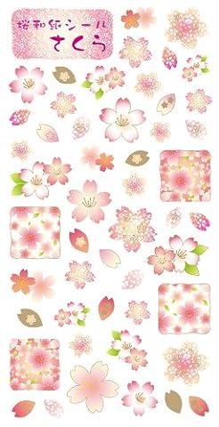 Washi Kawasumi Washi Stickers Cherry Blossom Sakura 5 Sheets - Decorative Sticker by Washi Kawasumi