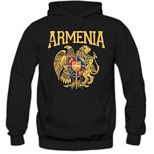 Armenien Wappen Hoodie Republik Armenien Rot Blau Orange Kaukasus Herren-Kapuzenpullover, Farbe:Schwarz (Black F421);Größe:S