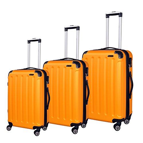 Hochwertiges 3 Teiliges Reise Kofferset Trolley ABS Hartschale in 12 Farben (Aprikosegelb)
