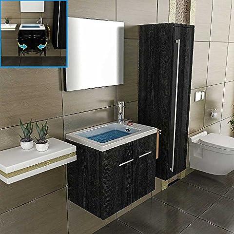 Mineralguss Waschbecken mit Unterschrank 50 cm Breit, Spiegel Bad Design Badezimmer Becken Waschplatz