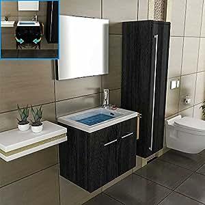 Mobile bagno 50 cm larghezza lavabo rettangolare design specchio mobiletto da appendere a parete - Mobiletto bagno da appendere ...