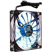 Aerocool SHARK - Ventilador gaming para PC (12 cm, 12V/7V, 15 aspas, 14.5 dBA, 1500rpm, iluminación LED azul, ultrasilencioso, antivibración, cables enmallados), color azul