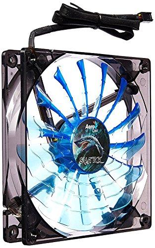 Aerocool Shark 12cm Quad Blue LED Fan 15 Blade Fluid Dynamic Bearing 12.6dBA lowest price