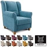 Cavadore Sessel Finja, wunderschöner Cocktailsessel mit Federkern im Landhausstil, passender Hocker erhältlich, Maße: 87 x 102 x 96 cm (BxHxT), Farbe: Hellblau