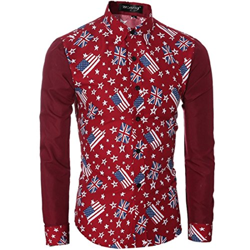 Men's Classic Flag Sell Printed Long Sleeved Slim Fit Shirts red