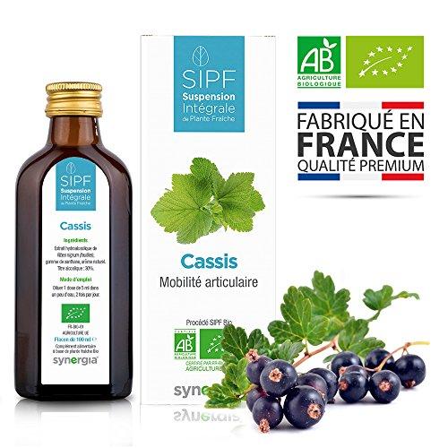 Cassis bio français  Solution buvable de plantes fraîches  Soin des articulations, mobilité...