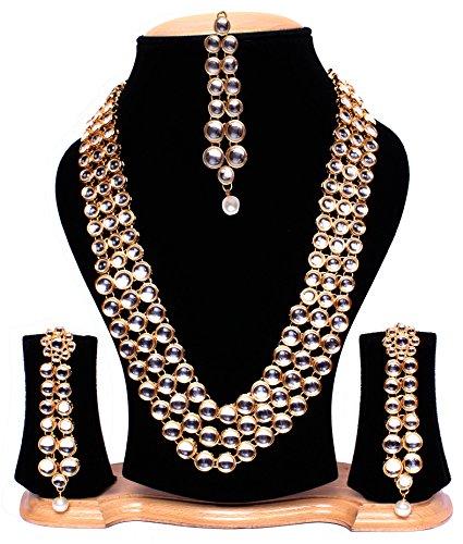 Quail Gold Plated Anushka Sharma Traditional Jewellery Kundan Pearl Necklace set with Long Hanging Earrings & Mang Tika (Maang Tika is Freebie) / Necklace for Women Traditional / Necklace Set for Women Party Wear