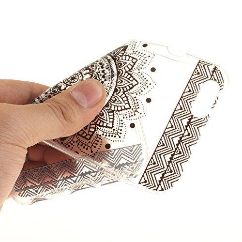 Qiaogle Téléphone Coque - Soft TPU Silicone Housse Coque Etui Case Cover pour Apple iPhone 5 / 5G / 5S / 5SE (4.0 Pouce) - TX77 / Noir mandala TX69 / Noir dentelle Fleur